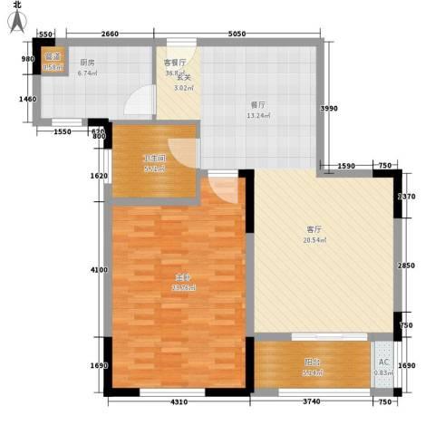 南京万达广场1室1厅1卫1厨89.00㎡户型图