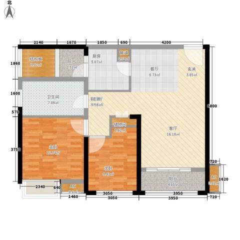 南京万达广场2室1厅1卫1厨89.00㎡户型图