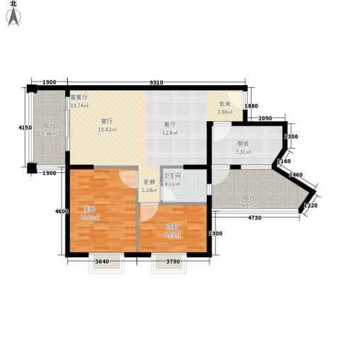 尚贤坊2室1厅1卫1厨99.00㎡户型图