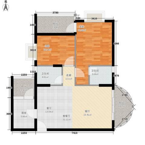 尚贤坊2室1厅2卫1厨97.00㎡户型图