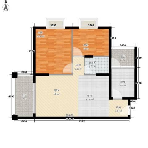 尚贤坊2室1厅1卫1厨94.00㎡户型图