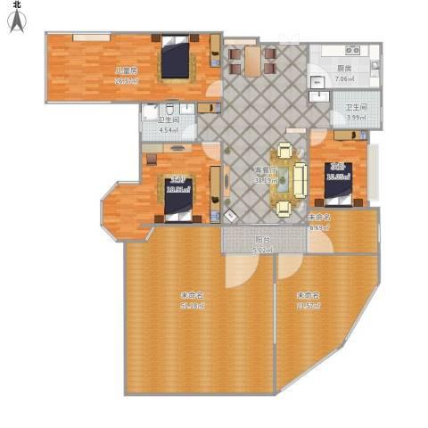 金上海湾杜太太3室1厅2卫1厨256.00㎡户型图