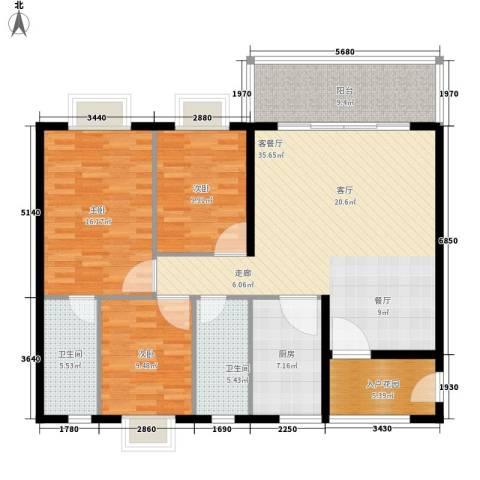 尚贤坊3室1厅2卫1厨118.00㎡户型图