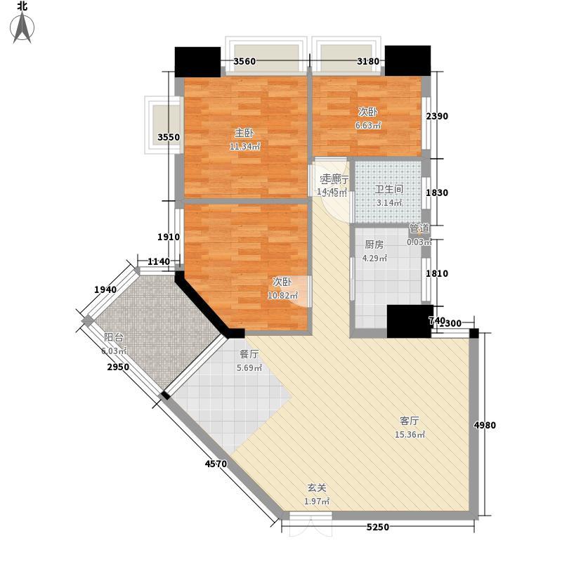 御龙湾90.00㎡御龙湾户型图A户型3室2厅2卫1厨户型3室2厅2卫1厨