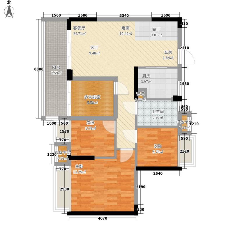 御龙湾88.48㎡御龙湾户型图5座B户型08单位3室2厅1卫1厨户型3室2厅1卫1厨