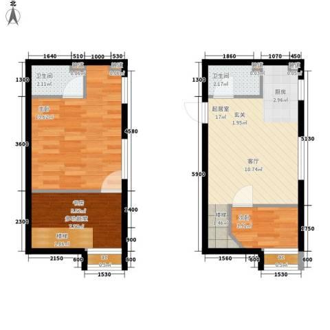 洲际半岛新城2室0厅2卫0厨53.00㎡户型图