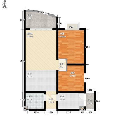 洲际半岛新城2室0厅1卫1厨76.00㎡户型图