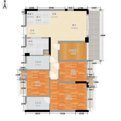 御龙湾3室1厅2卫1厨118.00㎡户型图