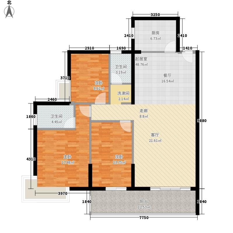 人和好景128.83㎡5栋bC/D户型三房房二厅二卫户型