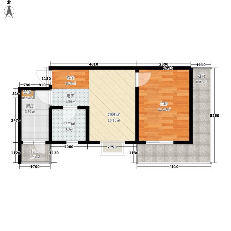 仁和金沙54.32㎡仁和金沙户型图B型1室1厅1卫1厨户型1室1厅1卫1厨