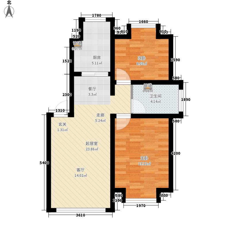 北方星城77.75㎡北方星城户型图2室1厅1卫1厨户型10室