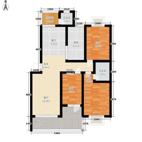 锦绣东方3室1厅2卫1厨89.00㎡户型图