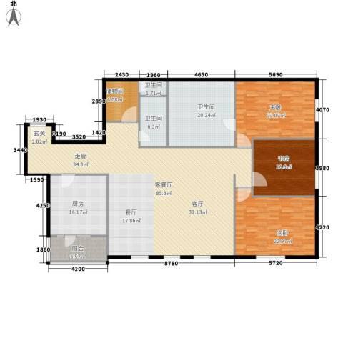 时代广场3室1厅3卫1厨219.00㎡户型图