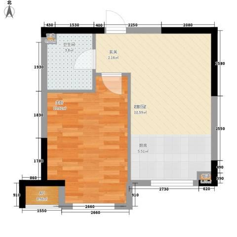 中房上东花墅1室0厅1卫0厨45.00㎡户型图