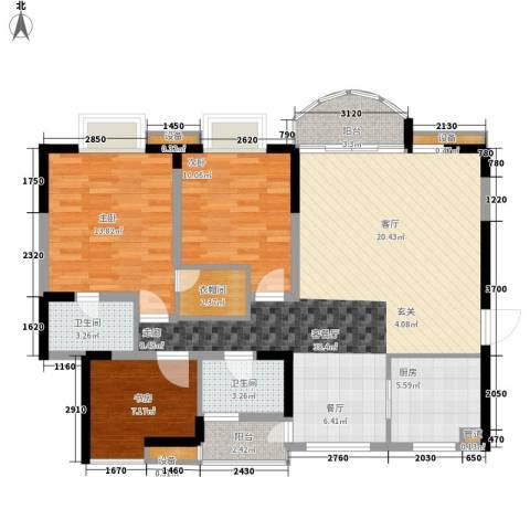 天工太阳岛3室1厅2卫1厨104.00㎡户型图