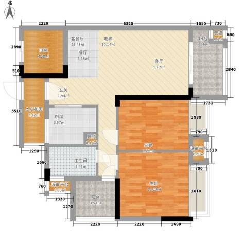 御龙湾2室1厅1卫1厨83.00㎡户型图