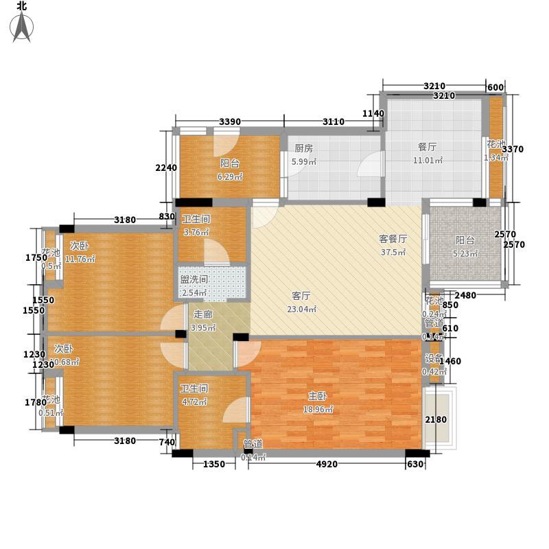 金色乐章123.58㎡户型3室2厅2卫1厨