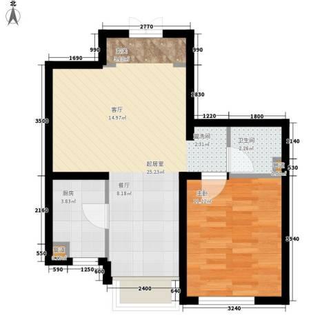 绿地高科城1室0厅1卫1厨61.00㎡户型图
