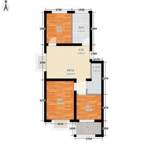 秦房 里仁居3室0厅1卫1厨73.00㎡户型图