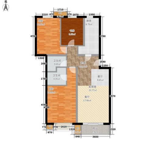 天恒嘉俪家园3室0厅2卫1厨107.00㎡户型图