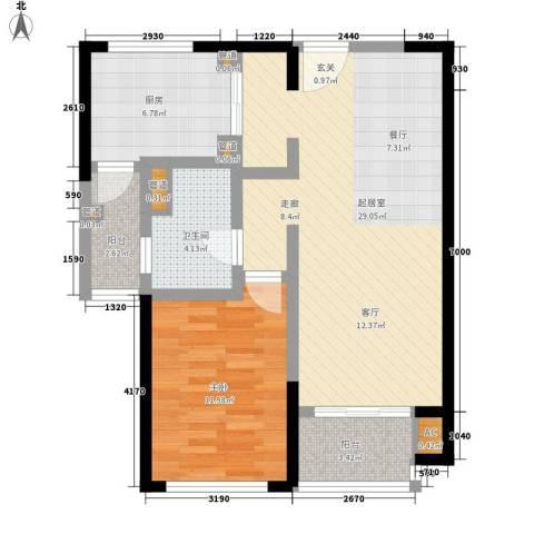 远雄徐汇园1室0厅1卫1厨70.00㎡户型图