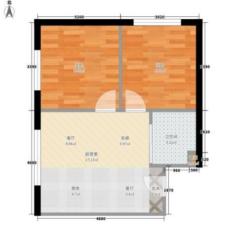青岛街2室0厅1卫0厨54.00㎡户型图