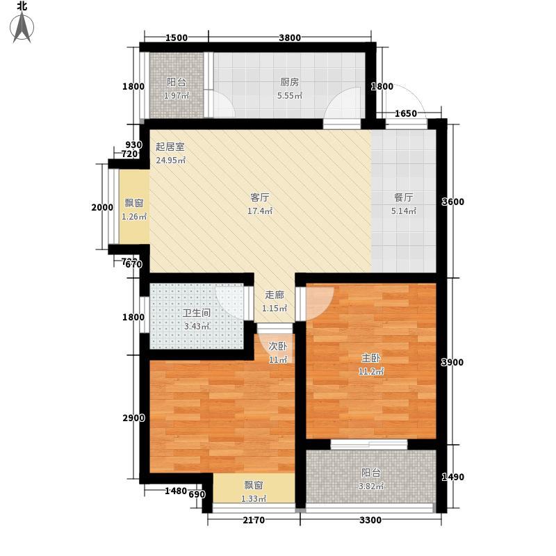龙城铭园国际社区88.00㎡龙城铭园国际社区户型图8#C户型2室2厅1卫1厨户型2室2厅1卫1厨