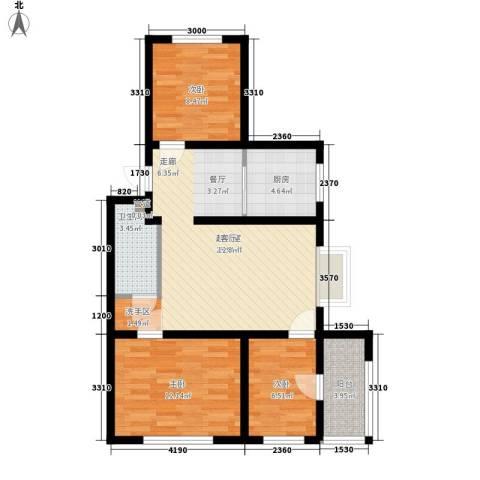 秦房 里仁居3室0厅1卫1厨86.00㎡户型图