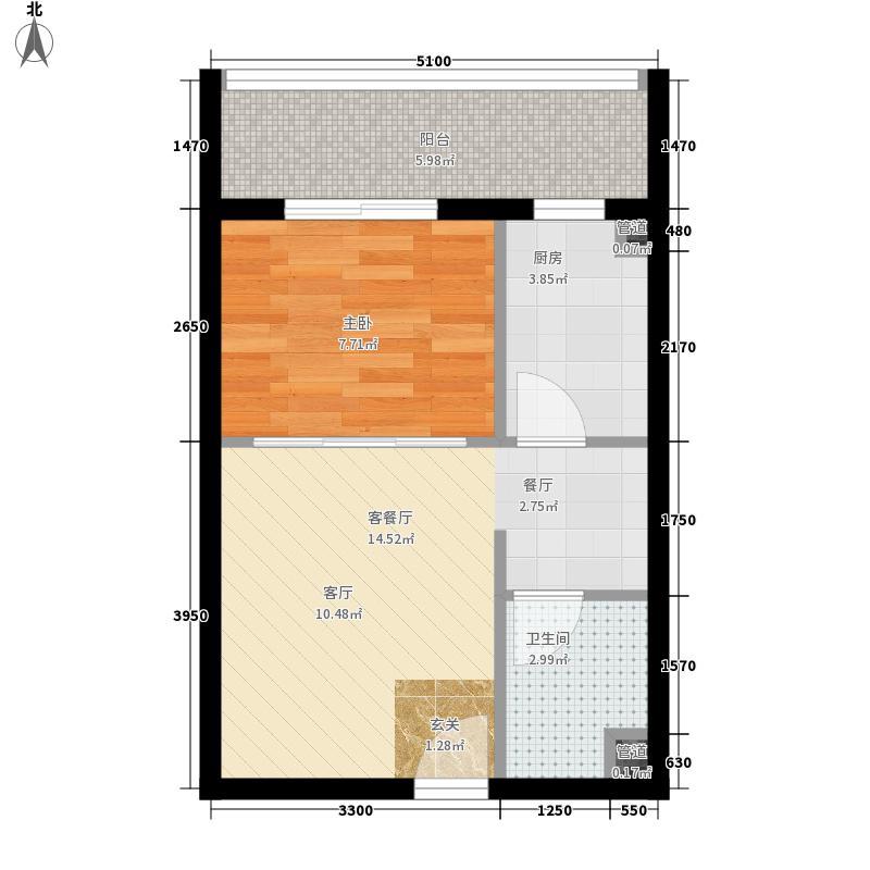 东方维也纳户型图Y3户型图 1室2厅1卫1厨