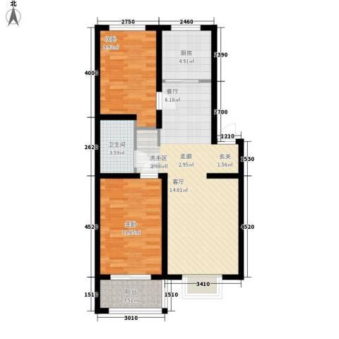 秦房 里仁居2室0厅1卫1厨87.00㎡户型图