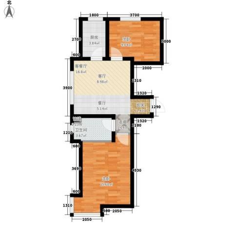 江城文苑2室1厅1卫1厨49.15㎡户型图