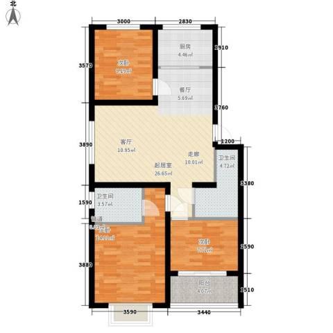 秦房 里仁居3室0厅2卫1厨97.00㎡户型图