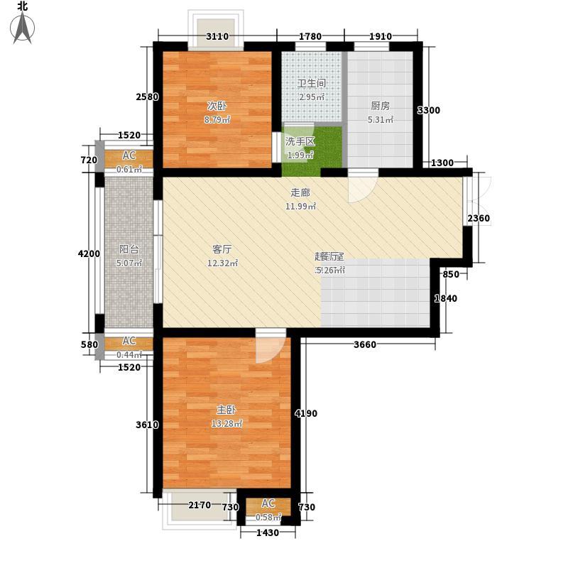 金色假日户型图13#15#A1户型 2室2厅1卫1厨