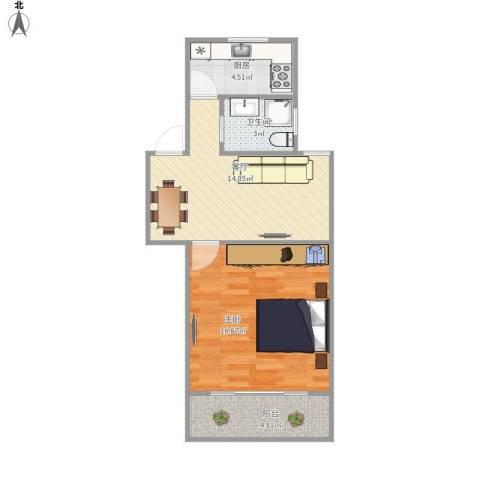 紫叶小区1室1厅1卫1厨59.00㎡户型图