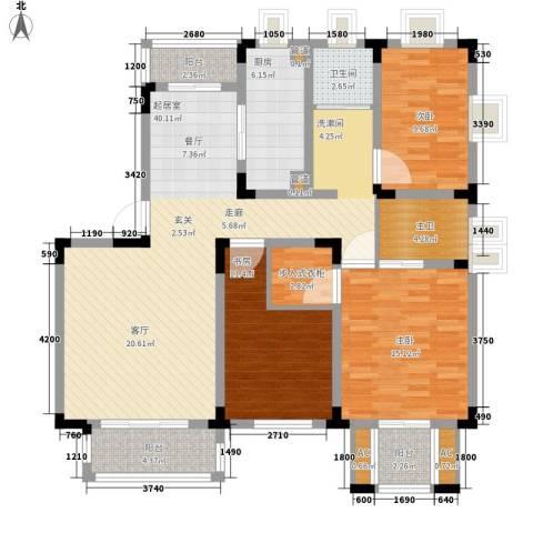 宏图上逸园3室0厅1卫1厨131.00㎡户型图