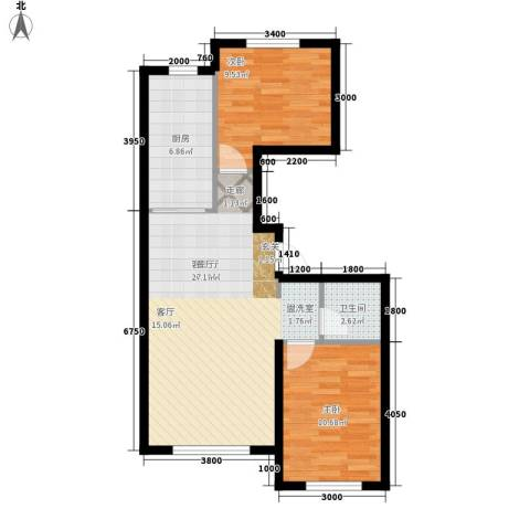 江城文苑2室1厅1卫1厨88.00㎡户型图
