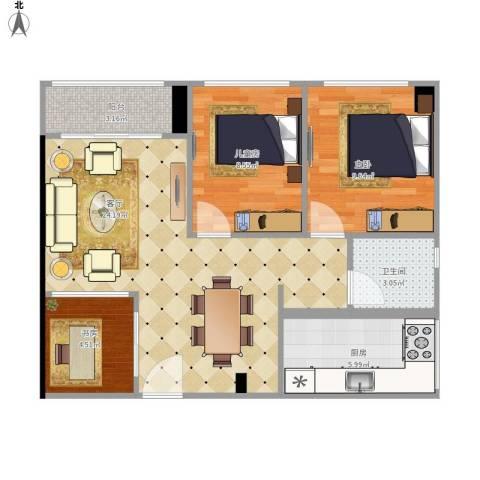 宏发世纪城一期3室1厅1卫1厨82.00㎡户型图