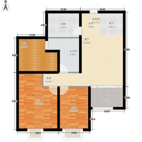 中南世纪锦城2室0厅1卫1厨121.00㎡户型图