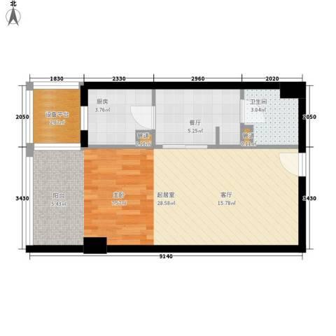 都城MOMA1厅1卫1厨47.00㎡户型图