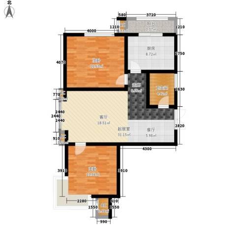 儒苑佳园2室0厅1卫1厨93.00㎡户型图