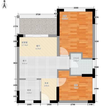 海泽雅居2室0厅1卫1厨57.00㎡户型图