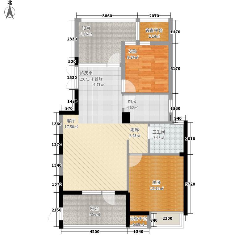 海华东盟公馆3.00㎡平层E1户型2室2厅1卫1厨