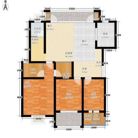 宏图上逸园3室0厅1卫1厨128.00㎡户型图