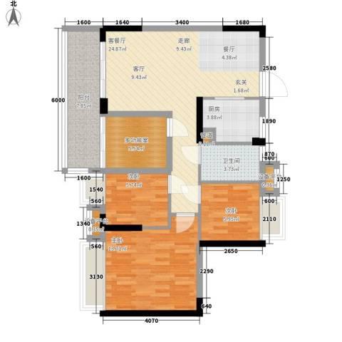 御龙湾3室1厅1卫1厨88.00㎡户型图