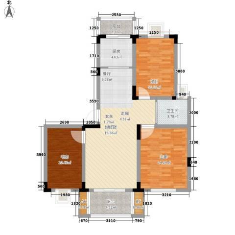 宏图上逸园3室0厅1卫1厨104.00㎡户型图