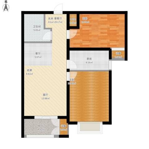 水岸丽景2室1厅1卫1厨110.00㎡户型图
