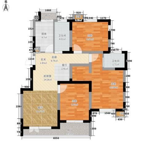 祥和居3室0厅2卫1厨90.00㎡户型图