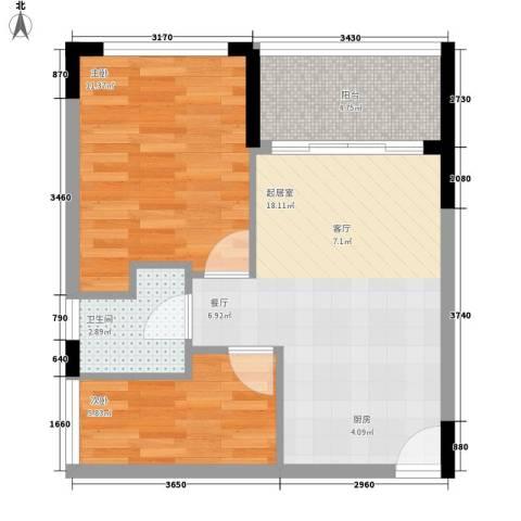 海泽雅居2室0厅1卫0厨49.00㎡户型图