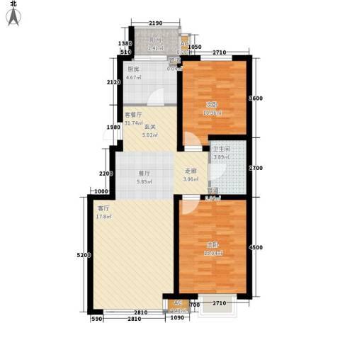 中房基安花园2室1厅1卫1厨104.00㎡户型图