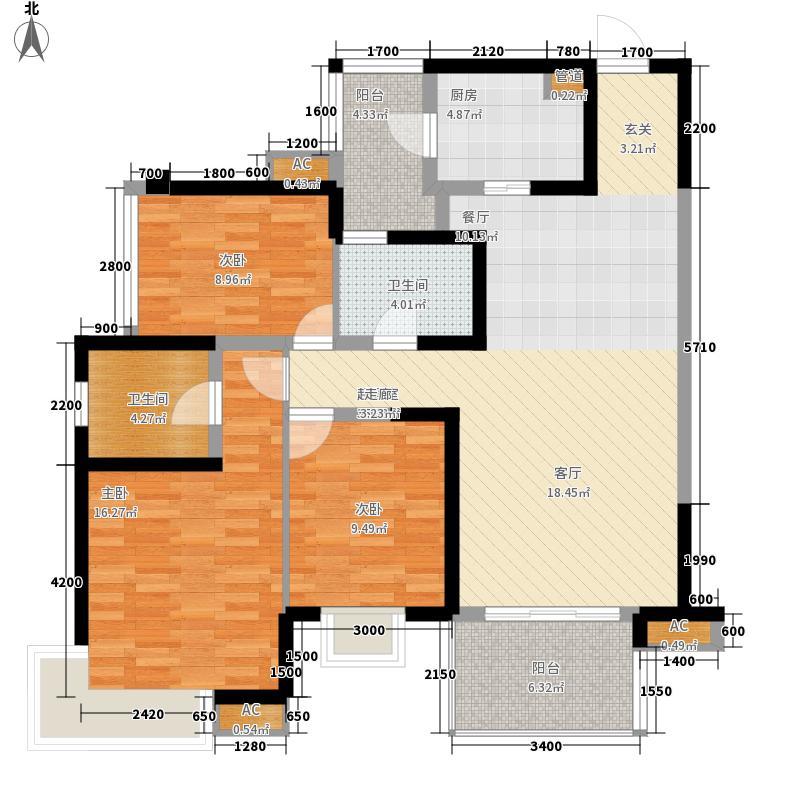 翡翠城(锦江)119.12㎡三期C2偶数层(已售完)户型3室2厅2卫1厨